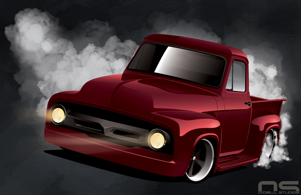 classic ford f100 hot rod custom rendering and design
