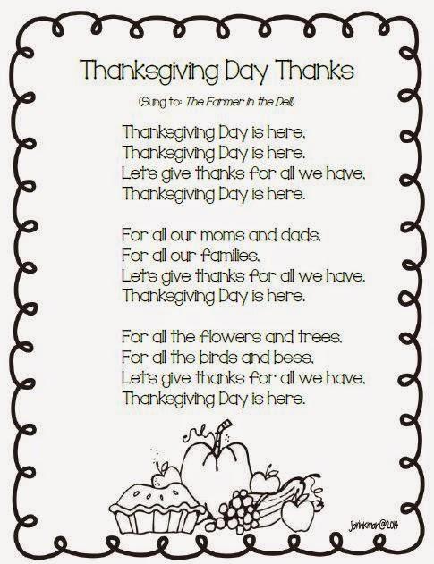 Mrs Brinkman S Blog Thanksgiving Songs Amp Poetry