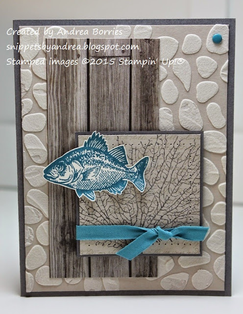 Card featuring a background made with molding paste and a stencil. Stamped images from By the Tide stamp set.