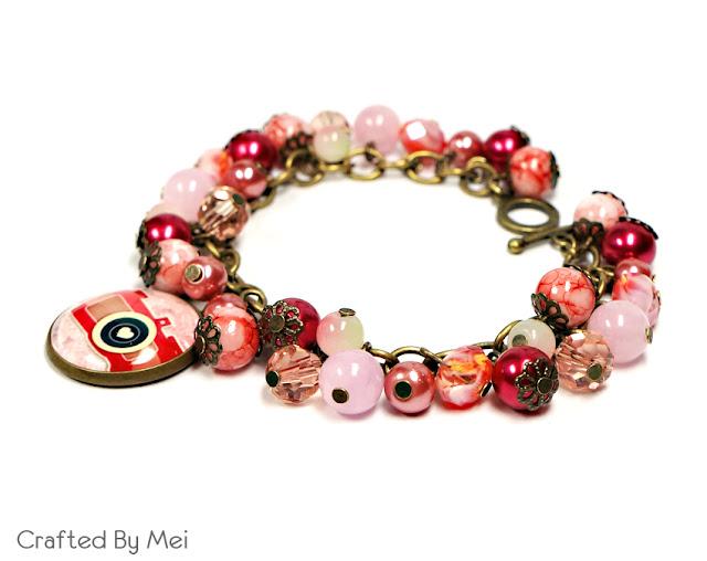 pink, red camera bracelet
