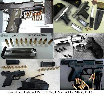 6 loaded guns, knife, and ammunition.