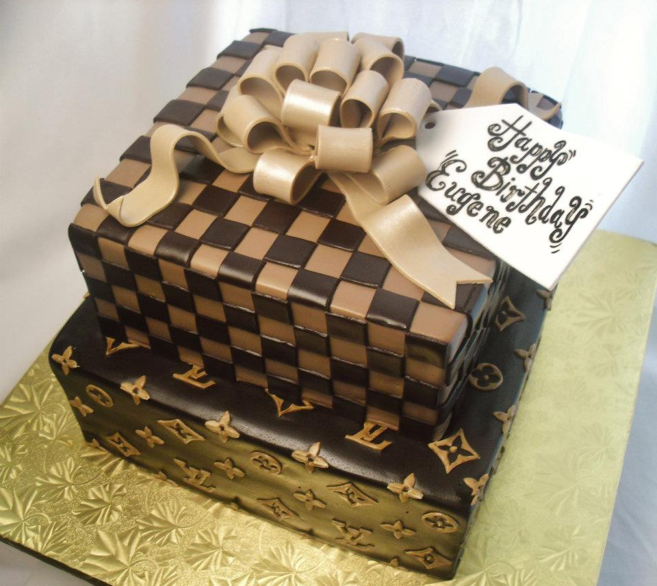 made FRESH daily Louis Vuitton Gift Box Birthday Cake and Cupcakes