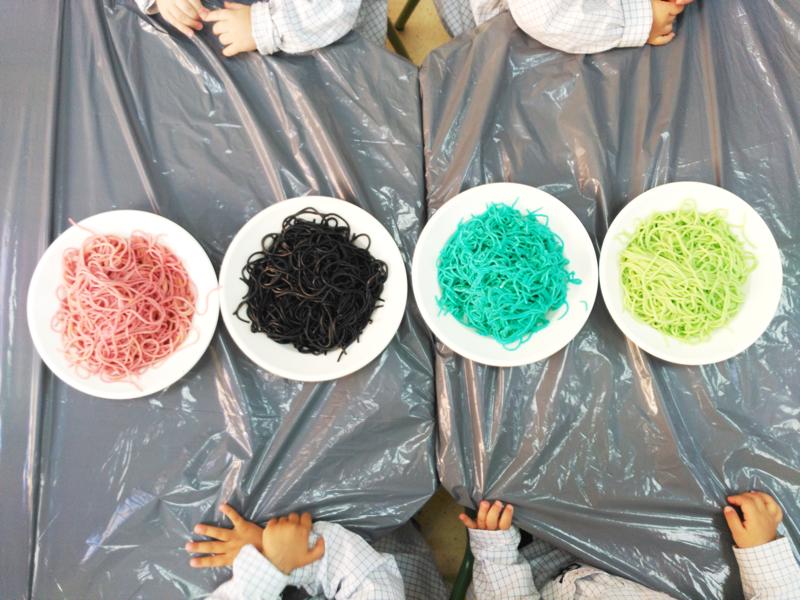 Colegio ram n y cajal espaguetis de colores for Espaguetis para dos