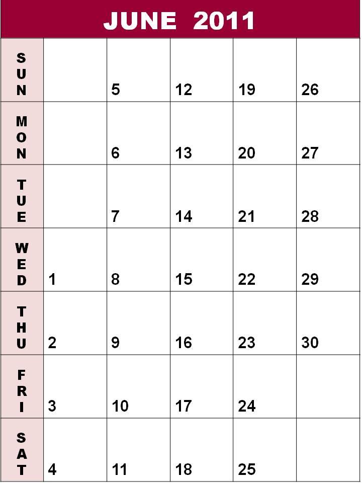 blank june 2011 calendar. write june blank calendar