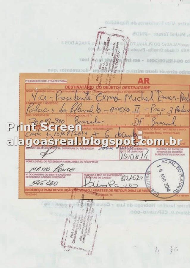 Print Screen Cópia do AR carta que o Clarividente Jucelino Nobrega afirma em seu site, ter enviado ao Vice-Presidente do Brasil Michel Temer.