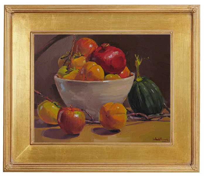 "Sedwick Studio Purple Bowl Of Plums Fruit Bowl Still: Sedwick Studio: ""Persimmon Harvest"" Fruit Persimmon Apple"
