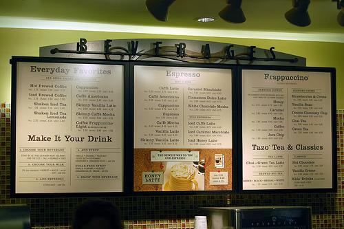 starbucks  prices menu