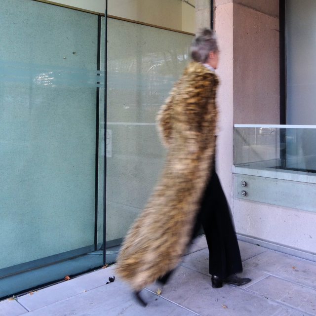 Melanie Kobayashi in maxi muppet coat, bagandaberet
