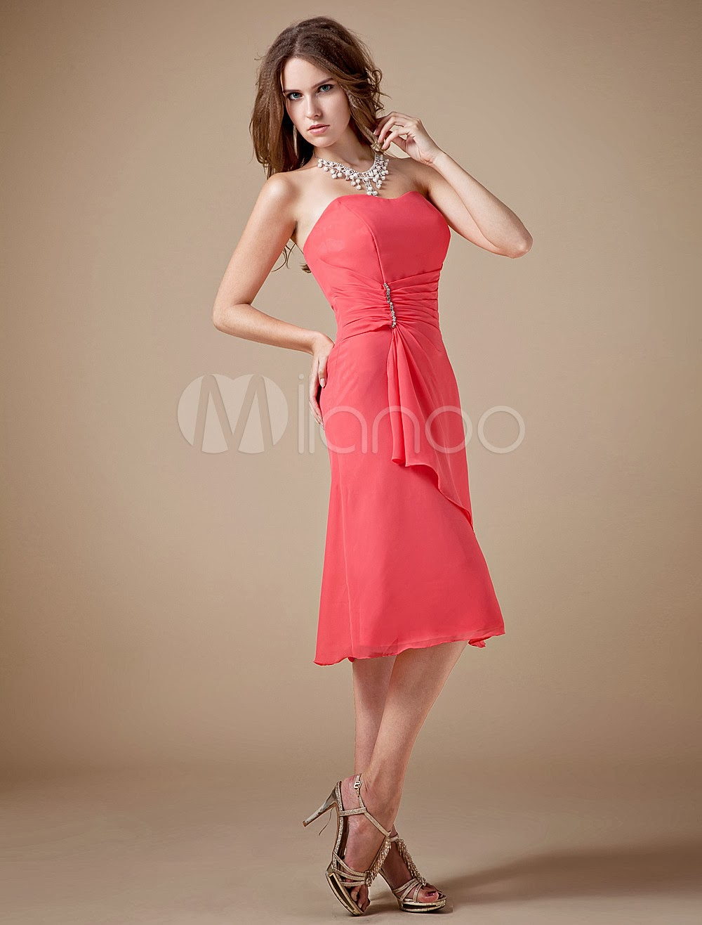 China Wholesale Clothes - Sweet Chiffon Tea Length Strapless Bridesmaid Dress