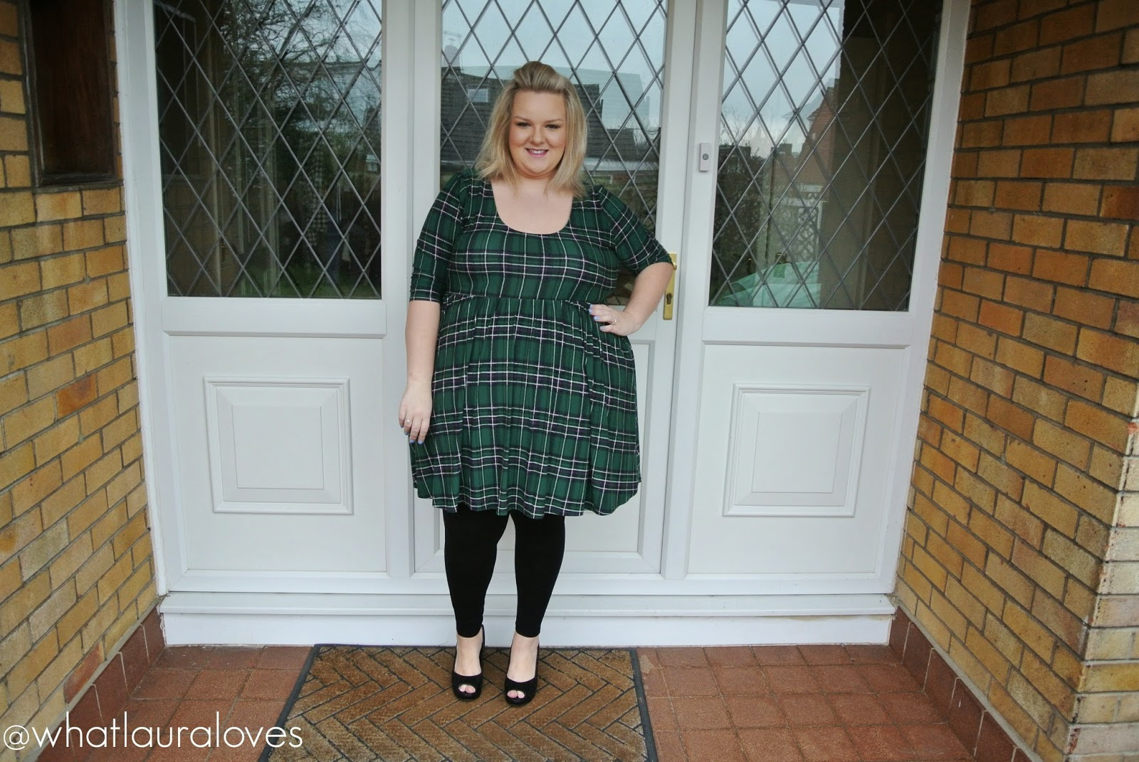 Missguided Plus Size Green Tartan Dress