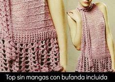 Blusa sin mangas con detalle de bufanda incorporada - explicación en español