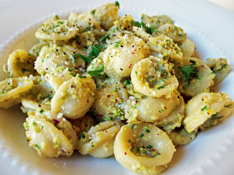 Cooking Weekends: Orecchiette with Pistachio & Picholine Olive Sauce