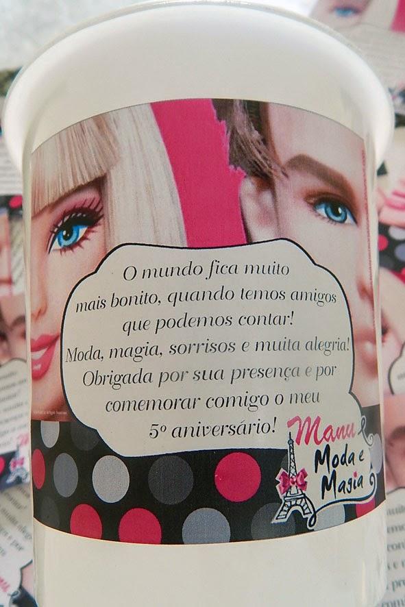 centro de mesa baldinho de pipoca barbie moda e magia