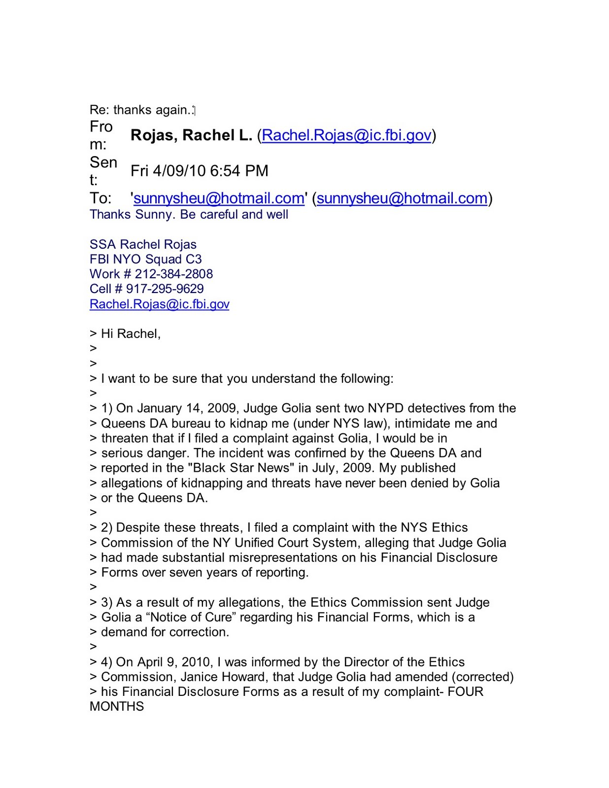 The Murder Of Sunny Sheu June 2011 Letter From Sunny Sheu To FBI Agent  Rachel Rojas