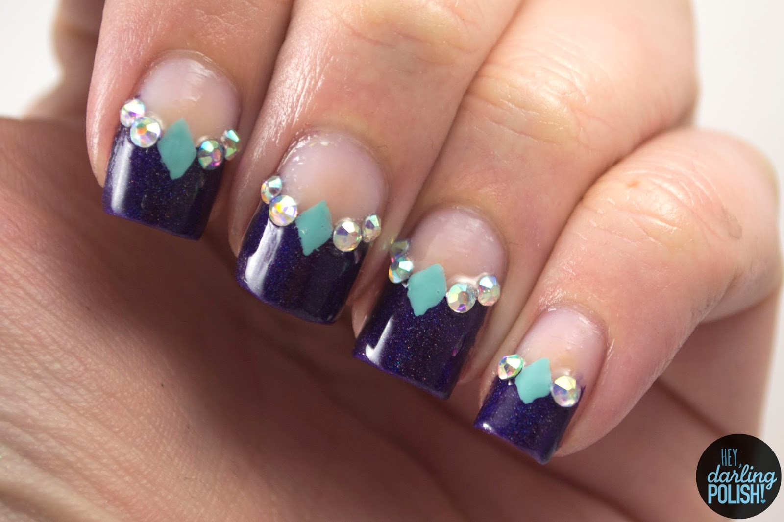 nails, nail art, nail polish, polish, i love nail polish, grape-alicious, negative space, rhinestones, theme buffet