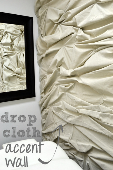Drop cloth accent wall
