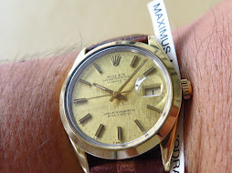 ROLEX OYSTER PERPETUAL DATE GOLD LINEN DIAL - GOLD TOP - ROLEX 15505 GOLD TOP