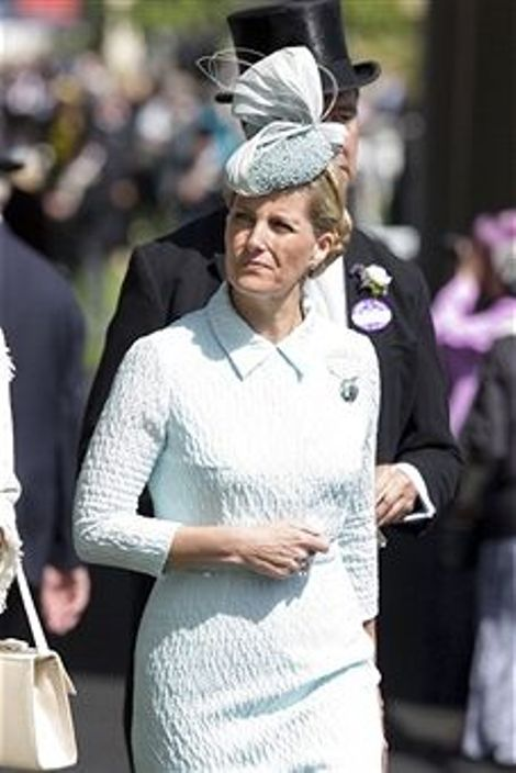 Countess of Wessex in a pale blue outfit on day 1 at Royal Ascot 2014
