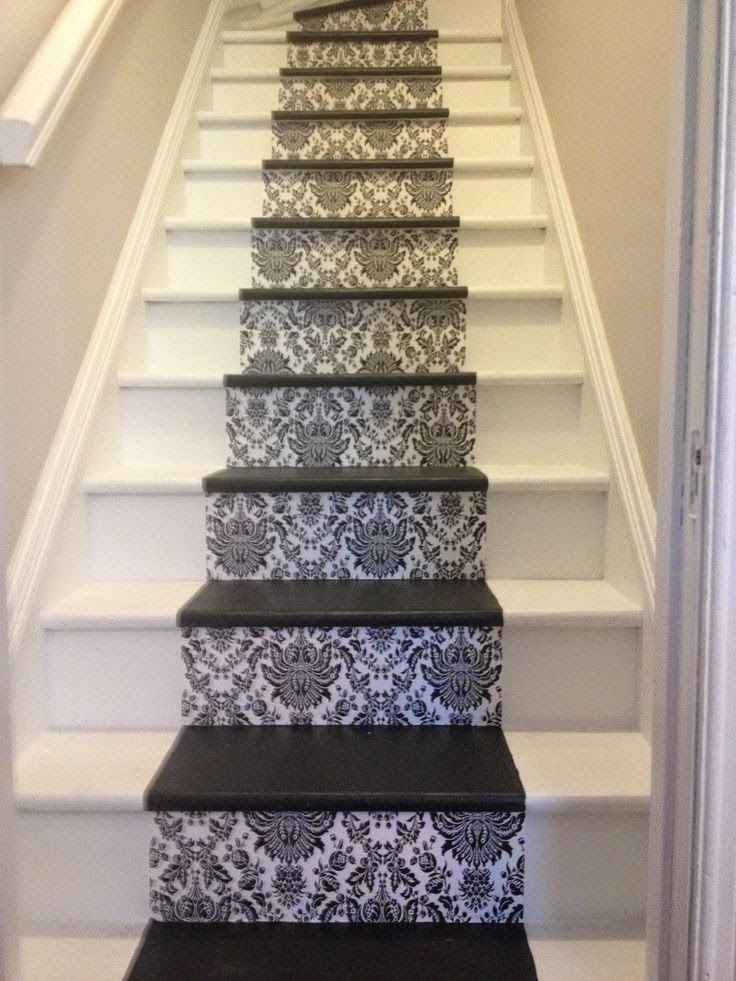 straight stairs with carpet stairs