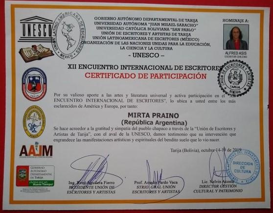 XII Encuentro Internacional de Escritores, realizado en el Estado Plurinacional de Tarija  Bolivia,