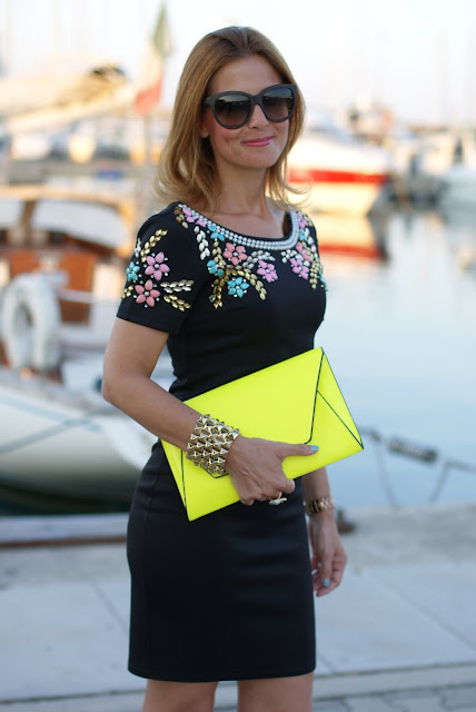 summer elegant outfit, little black beaded dress, Chi Chi regina dress, Zara yellow clutch, Fashion and Cookies