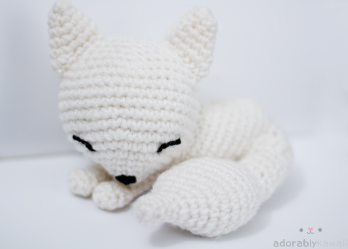 Amigurumi Strawberry Girl Free Pattern : White Sleepy Fox Amigurumi Adorably Kawaii