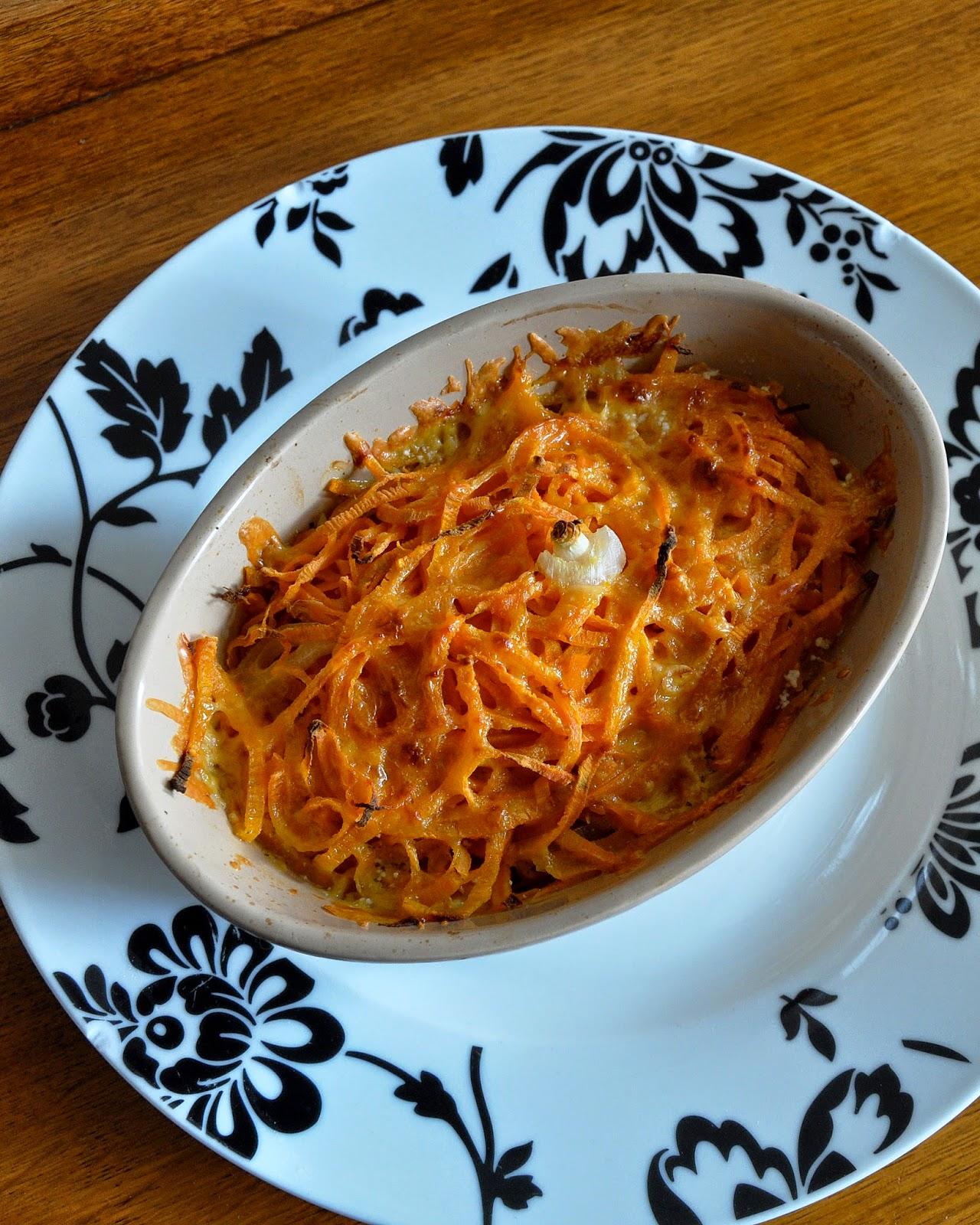 Sweet potato noodle and feta cheese bake