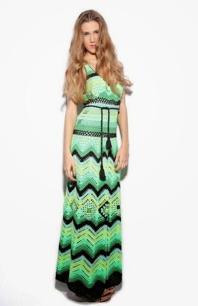 Vestido largo de dama al crochet