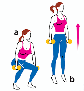 Dumbbell Squat Jump all Fitness Holding a pair of dumbbells at your sides, sit your hips back and lower into a squat (a), then push through your heels and jump as high as you can (b). Land softly. That's one rep.