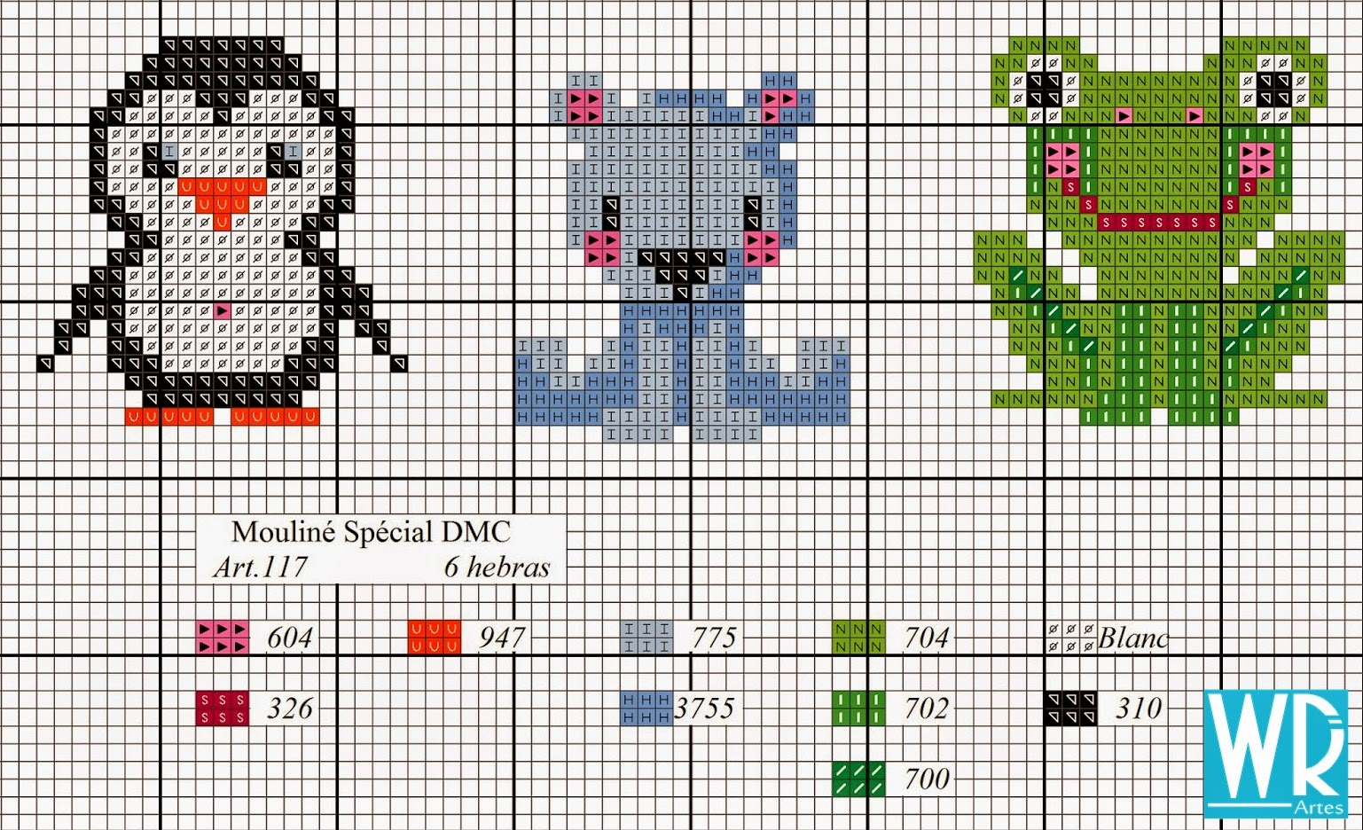 penguin, bear, frog cross stitch freebie chart pattern