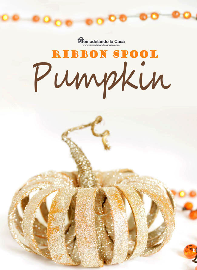 how to make a craft pumpkin with ribbon spools, paint, glitter and jute