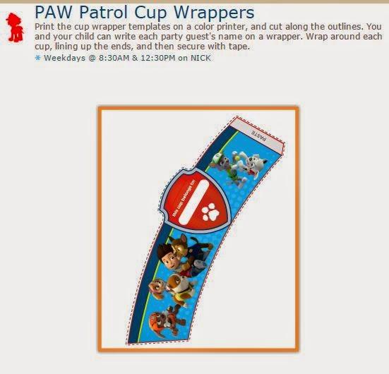 Paw Patrol o Patrulla Canina: Etiquetas para Tazas o Vasos para Imprimir Gratis.