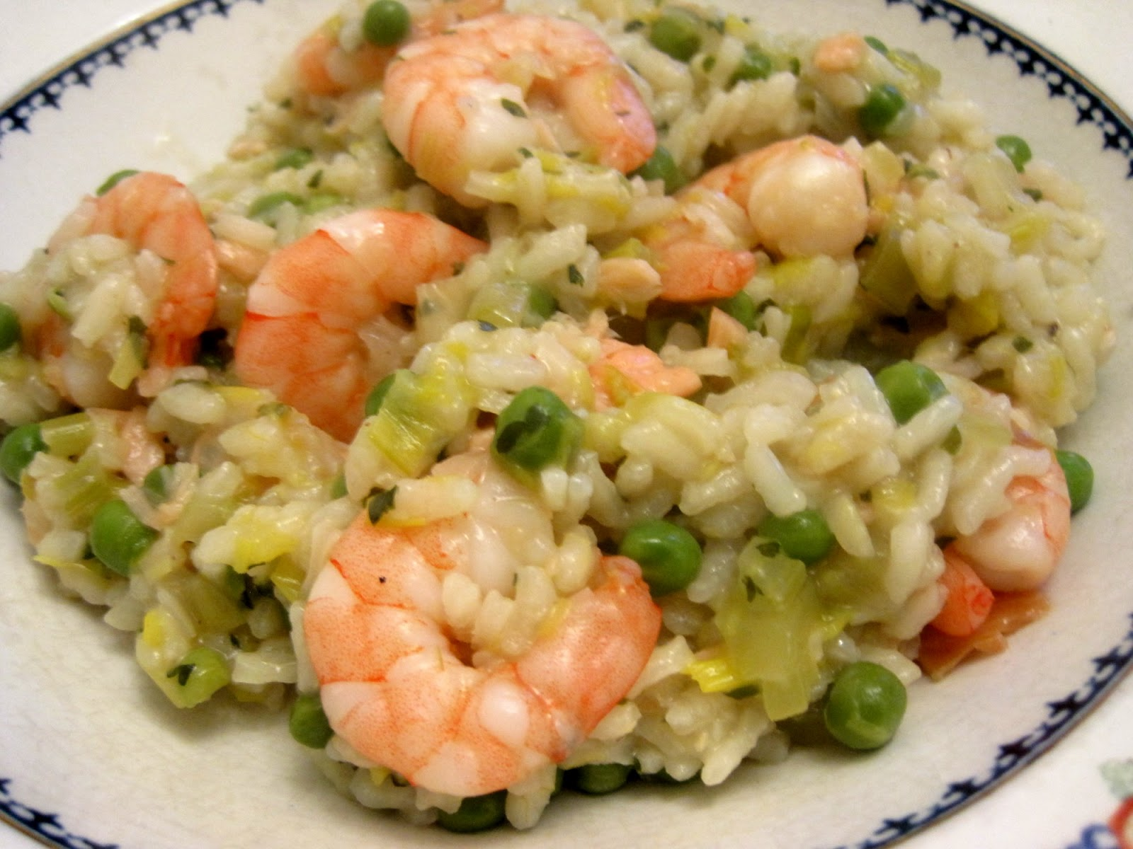 Lynne's Dinners : Risotto....Prawns leeks peas and Pernod ...