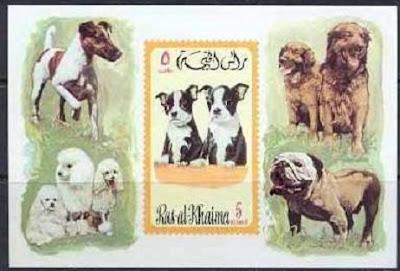1971年ラスアルカイマ ボストン・テリア ジャック・ラッセル プードルなど5犬種の切手シート