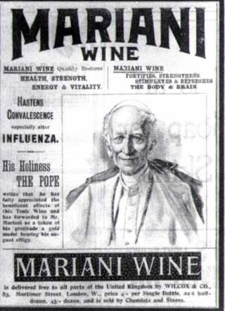 Papa Leão XIII foi o 'garoto propaganda' do Vinho Mariani em 1878.