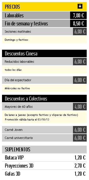 Tarifas del Cine de Valencia Cinesa Bonaire