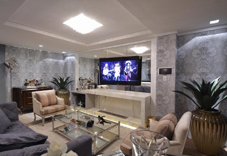 Construindo minha casa clean salas modernas com papel de for Sala de estar fendi