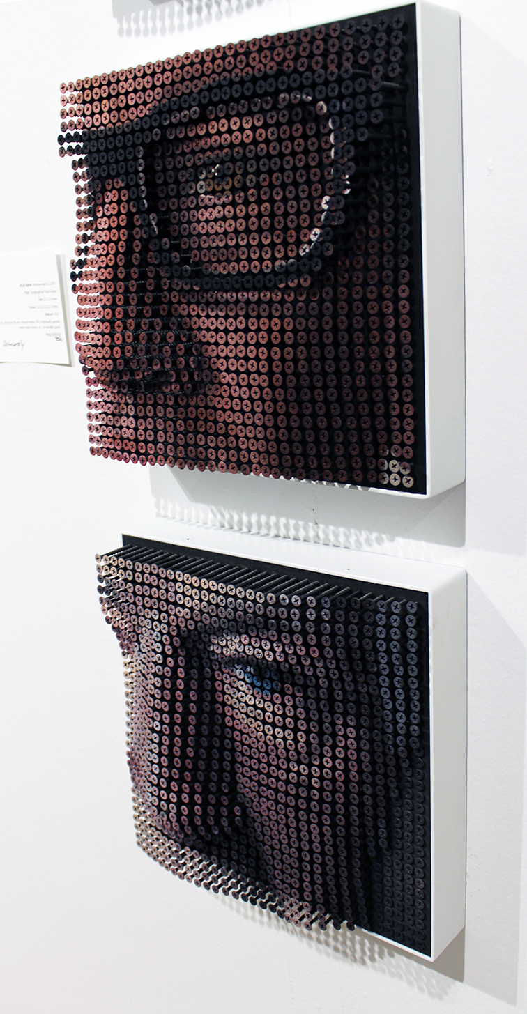 Topographical Facial Series made from screws by Andrew Myers at Art Basel Miami Beach 2014, sold separately, detail view