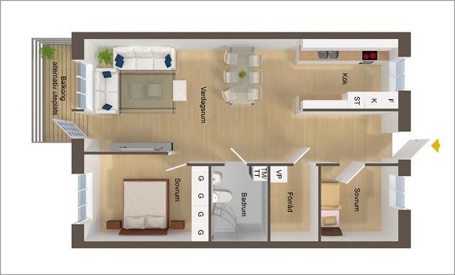 Mẫu căn hộ đơn giản, tiện nghi