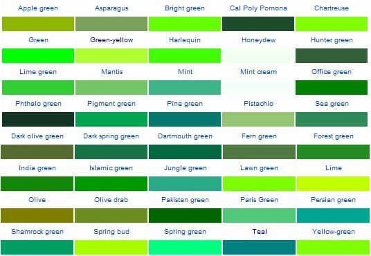 Image Result For Shades Of Green Color