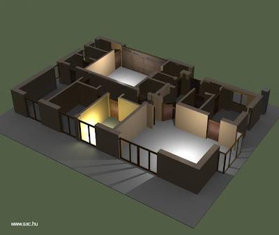 Imagen en 3D del renderizado de un proyecto arquitectónico