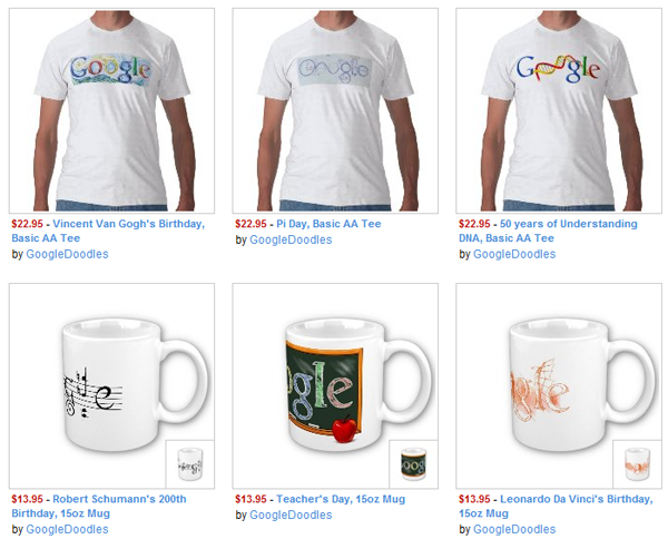 Google Doodle T-Shirts and Mugs