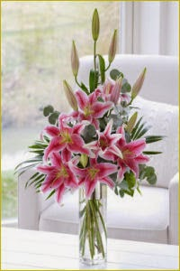 Pink Scented Lily Vase delivery in Ireland