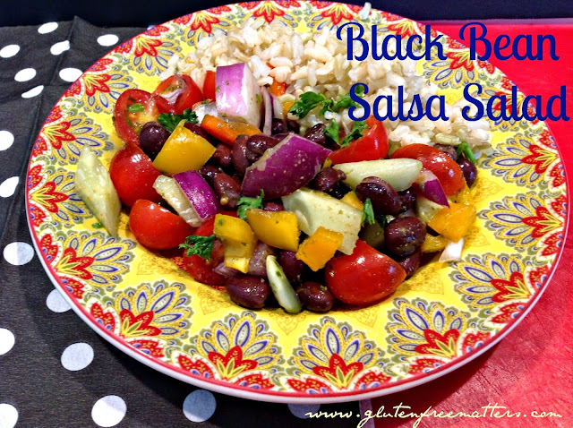 black bean salsa with red peppers, tomatoes, cilantro