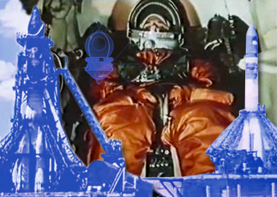 Yuri Gagarin wearing a spacesuit in the background as he prepares to depart on board a Vostok capsule, propelled into orbit by a Vostok rocket on 12 April 1961. RSA 2011.