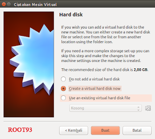 "Pilih ""Create a Virtual hard disk now"""