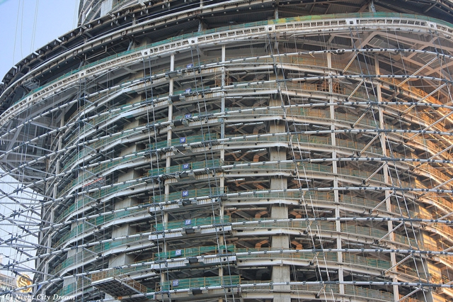 Facade structure under construction on Shanghai Tower