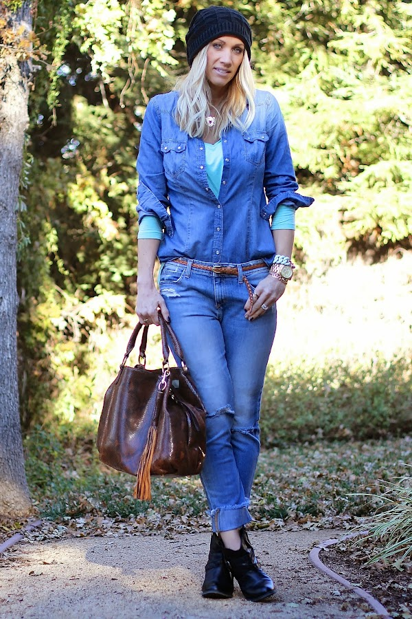 chambray top with jeans