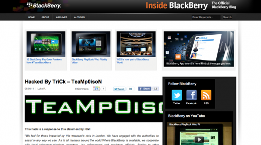 blackberry blog hacked