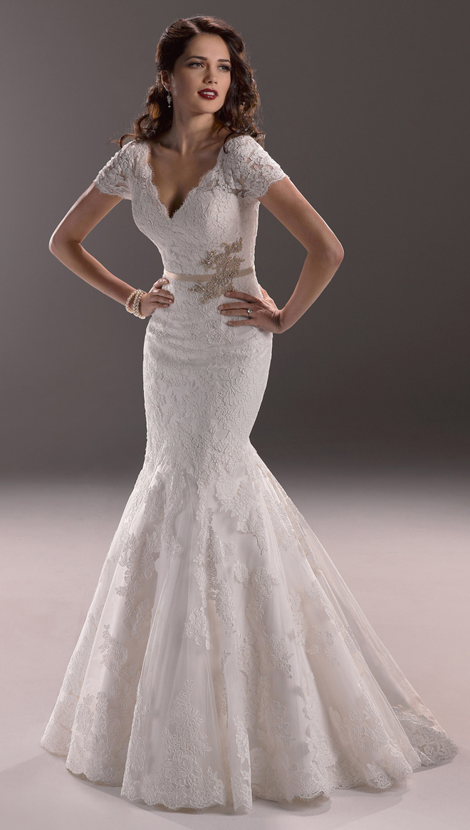 Maggie sottero 2014 bridal collection belle the magazine for Short sleeved wedding dress